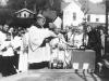 bishop  blessing the cornerstone for st. bridget
